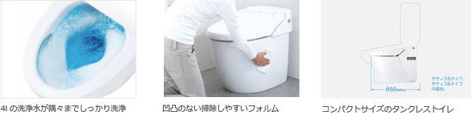 洗浄水が隅々まで洗浄