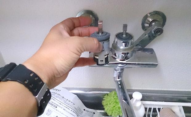 箕面市半町 キッチン水道水漏れの修理