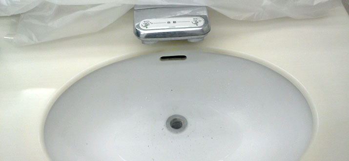 築地 洗面台の排水つまり除去