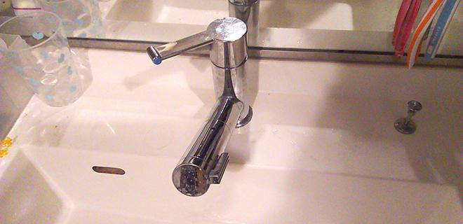 泉大津市 洗面台蛇口の水漏れ修理